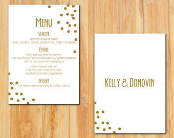 Gold Confetti Wedding Menu 50 qty, Elegant Gold Dots Wedding Event Reception Menu, Personalized Wedding Table Setting Custom Designed