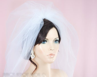 bubble bridal veil blasher, puffy veil wedding veil  white, ivory or champagne , shoulder length, extra volume WEB