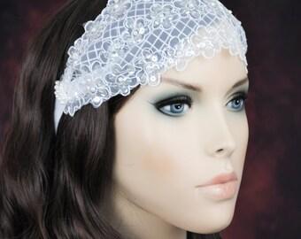 wedding white lace bridal hairband, boho,  juliet cap band, bohemian bridal hair ribbon, made in Florida