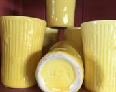 Juice Glasses Yellow USA Set of 6 Pottery Stars Ribbed Breakfast