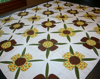 Vintage Handmade Hand Stitched Quilt Table Runner Wall Hanging Flowers and Open Leaves Brown Olive Green Yellow Calico Cotton