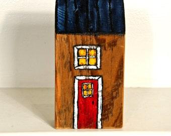 Miniature House Art Painted on Reclaimed Woodblock Mississippi OOAK Handmade Decor