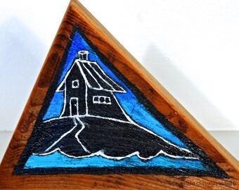 House Painting on Reclaimed Barnwood Block Mississippi Handmade Folk Art OOAK