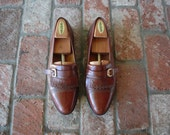 VTG Mens 10.5 Mezlan Slip On Oxfords Loafers Dress Oxfords Spanish Rustic Brown Preppy Hipster Dress Shoes Monk Strap Kiltie Cap Toe Wedding