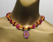 SALE Hindu goddess Lakshmi and roses beaded choker necklace made with dyed hemp. Long ties in back. CHK-105