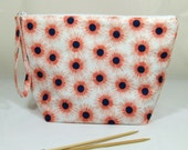 Knitting Project Bag - Large Zipper Wedge Bag in Orange and Navy Floral Fabric