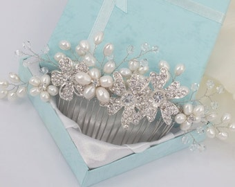 Taylor - Freshwater Pearl and Rhinestone Bridal Comb