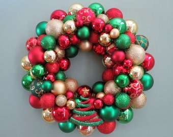 """Christmas Wreath 16""""-RED & GREEN  and GOLD Christmas Ornament Wreath with Tree Ornament"""