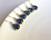 10% OFF SET of 3 Wedding Jewelry Gold Sapphire Blue Earrings, Navy Blue Earrings, Montana Blue, Bridesmaid Earrings, Bridal Earrings,Wedding