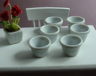 6 White Woven Ceramic Planters for Dollhouse 1/12 Scale