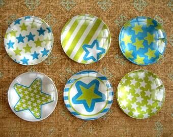Blue Green Stars Magnet, Blue Green Fridge Magnet, Round Magnet