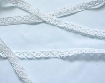 White trim crochet lace 12mm 5 yards, vintage lace, cotton lace, half inch lace