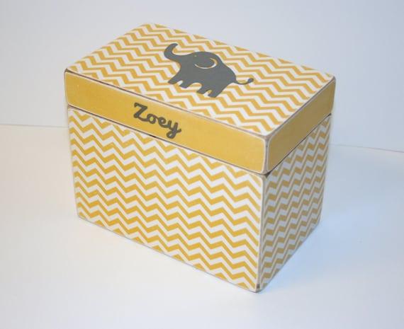 baby shower card box yellow and gray box elephant keepsake box