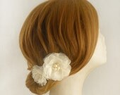 Pure Silk Bridal Hair Flower, Ivory Wedding Hair Flower, Bridal Flower Hair Clip, Wedding Hair Accessory, Swarovski Crystal Freshwater Pearl