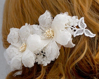 Lace Wedding Head Piece, Lace Bridal Head Piece, Lace Wedding Flower Comb, Lace Bridal Flower Comb, Vintage, Rustic Wedding Hair Accessory