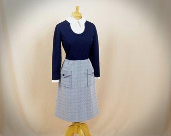 1960s Dress * Blue and White Dress * 60s Dress * Mod Dress * Retro Dress * Nautical Dress