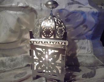 SILVER WEDDING LANTERN, metal, Moroccan, candle holder, indoor and outdoor, weddings, patio decor, parties, home decor