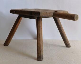 Rustic Wood Milking Stool