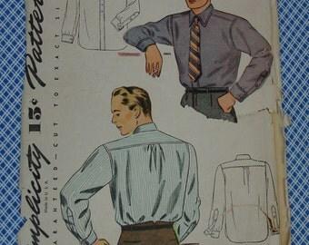 Vintage Pattern c.1940's Simplicity No.4138 Men's Shirt Size 15 1/2