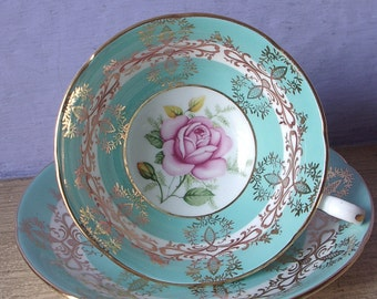 Vintage 20th Anniversary Gift for wife, Royal Grafton blue teacup and saucer, Pink rose tea cup, English tea cup, bone china teacup