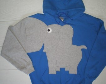 Hooded pullover elephant sweatshirt, elephant hoodie, elephant shirt, trunk sleeve, Royal Blue, Adult size small