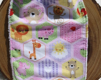 Hexagon girl animal bib