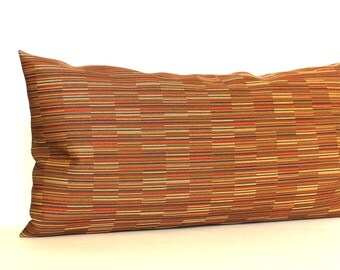 Decorative Rust Matchstick Stripe Lumbar Throw Pillow Cover Oblong 12x24 12x21 12x18 12x16 10x20