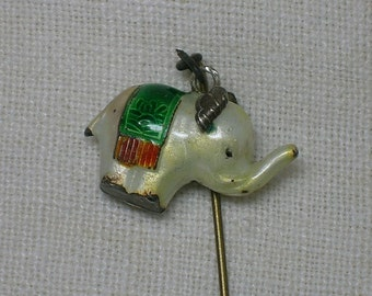 Antique Chinese Silver Stickpin. Elephant Charm. Cloisonne Enamel. So CUTE