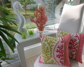 Coral Designer Pillows - Set of 2 - Coral Stripe Pink Sand - Reversible Pillow - Green Texture Pillow - Coral, Citron Green, Raspberry