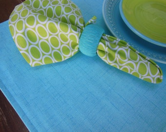 Reversible Placemats Tropical Flower Design Placemats Aqua Linen Look Placemats Green and Blue Placemats