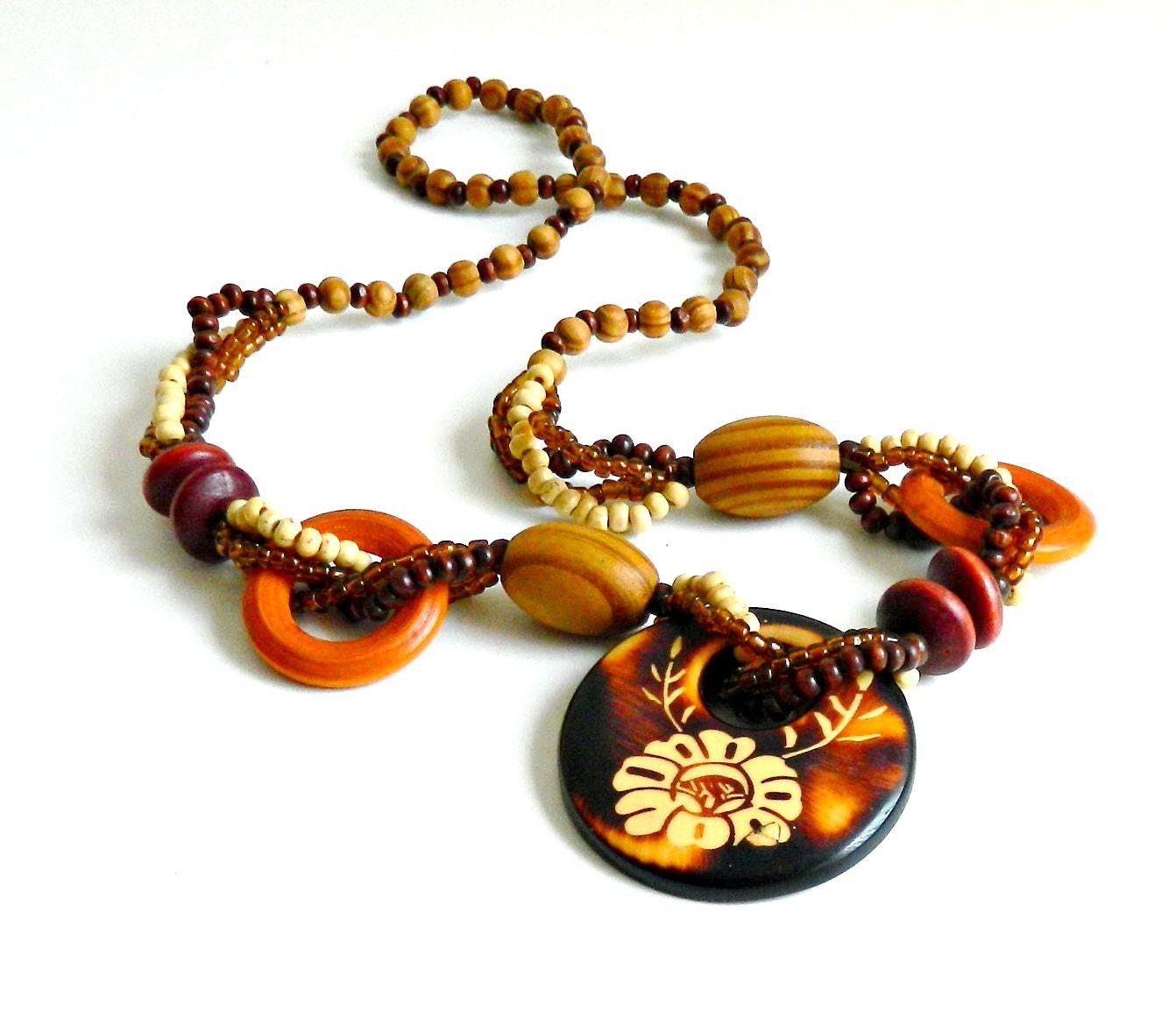 vintage boho necklace chunky wood beaded by retrogroovie