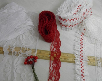 Vintage Lace Trim LOT - White and Red  - Lot Sale - You Get Everything In the Photos