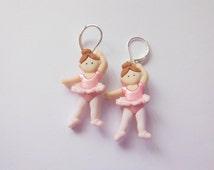 Pink Ballerina Button Earrings.