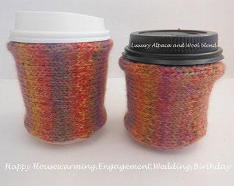 2 Matching Alpaca Wool Coffee Cozy