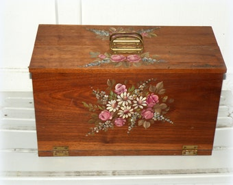 Folk Art Toleware Wood Box- Suitcase- Hand Painted Flowers- Urban Chic Decor- Rustic Farmhouse