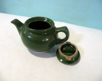 Small Tea Pot- Pottery Glazed- Restaurant Single Size- 1 Cup- Emerald Green