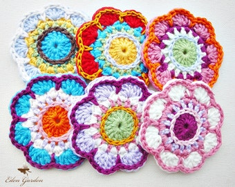 Set of 6 Crochet Flowers (MIX)