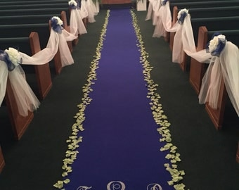Royal Blue Custom Made Aisle Runner 50  Feet Long 36 inches with Rhinestone Mongram Initials and Date