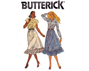 Flared Skirt with Ruffle Prairie Skirt UNCUT Sewing Pattern Size 16 Waist 30 Rodeo Chic Country 6 Gore Country Skirt Butterick 6967