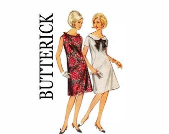 60s Maternity Dress Bust 31 1/2 Size 11 1960s Vintage Sewing Pattern Dress Mod A-line Maternity Fashion Butterick 3554
