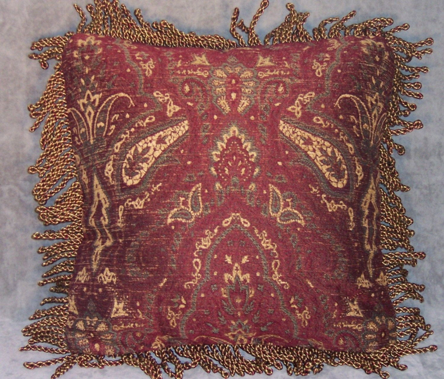 Wine Red Chenille Throw Pillow With Bullion Fringe 17