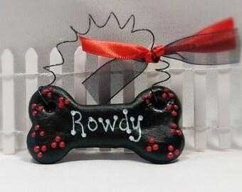 Pet Accessories, Dog Bone Christmas Ornament, Personalized Pet Ornament for Dog Christmas Gifts,  Licorice Colors