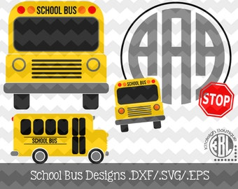 School Bus Design Set Files .DXF/.SVG/.EPS Files for use with your Silhouette Studio Software