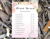 Instant Download- He Said She Said, printable game, Wedding shower game, bridal shower game, wedding party, bridal game, soft pink rose