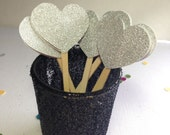 Silver Glitter Heart Cupcake Toppers-Party Decor-Wedding Favors-Shower Decor-Elegant Party Supplies-Glitter party Decor