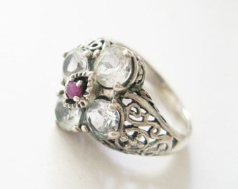 White Topaz and Ruby Cocktail Ring Size 7 Retired QVC 925 Sterling Silver