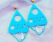 Bright Blue OUIJA PLANCHETTE Earrings with Blue Chain and Crystal
