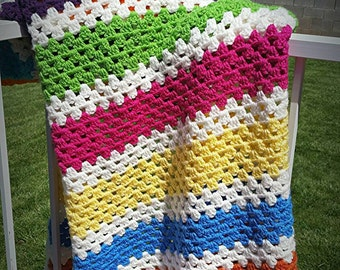 Colorful Striped Baby Afghan
