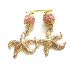 Crochet Bead Earrings, Starfish Earrings, Beach Earrings, Summer Earrings, Crochet Earrings, Sea Creatures, Coral Beads, Coral Earrings