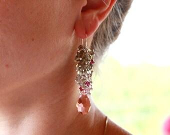 Swarovski Multi Color Earrings, Handmade Pink Earrings, Handmade Swarovski Earrings, Handmade Earrings, Swarovski Earrings, Dangle Earrings.